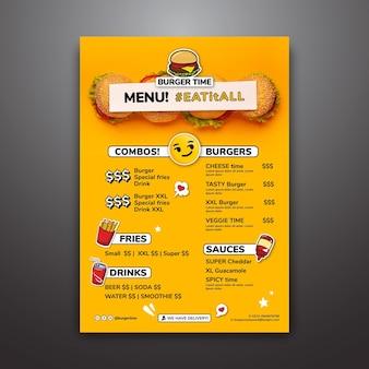 Plantilla de menú para restaurante de hamburguesas