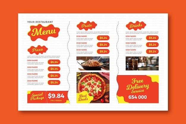 Plantilla de menú de restaurante horizontal digital de entrega gratuita