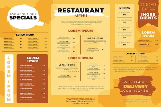 Plantilla de menú de restaurante horizontal