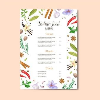 Plantilla de menú de restaurante indio tradicional en acuarela