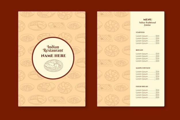 Plantilla de menú de restaurante indio tradicional dibujado a mano