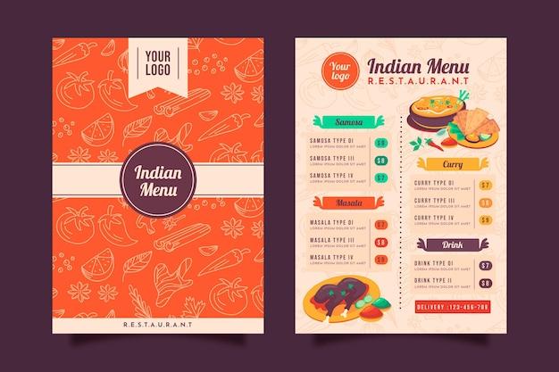 Plantilla de menú de restaurante indio tradicional de diseño plano