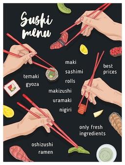 Plantilla de menú de restaurante japonés con manos sosteniendo apetitoso sushi, sashimi y rollos con palillos sobre fondo negro.