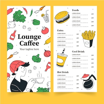 Plantilla de menú de restaurante para lounge caffee