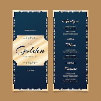 Plantilla de menú de restaurante de lujo dorado