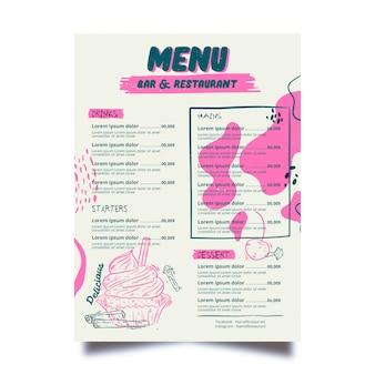 Plantilla de menú de restaurante manchado de rosa