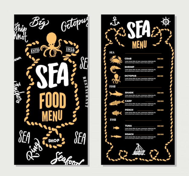 Plantilla de menú de restaurante de mariscos dibujados a mano