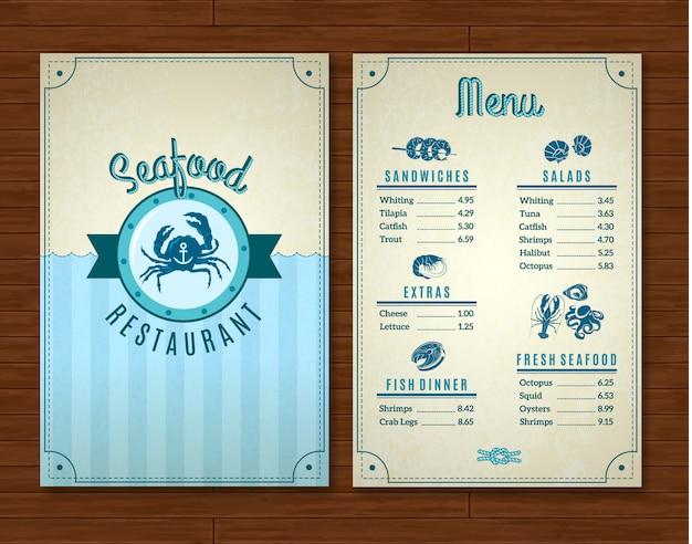 Plantilla de menú de restaurante de mariscos con símbolos del océano