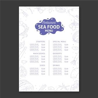 Plantilla de menú de restaurante de mariscos