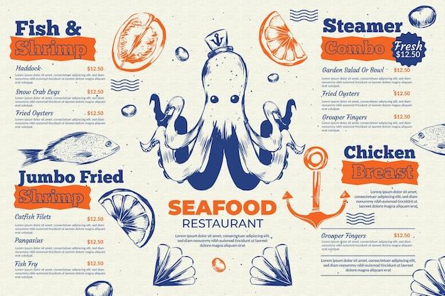 Plantilla de menú de restaurante de mariscos vector gratuito