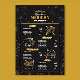 Plantilla de menú de restaurante mexicano