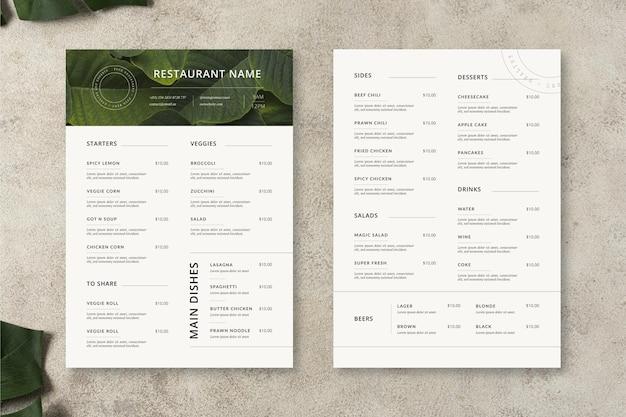 Plantilla de menú de restaurante minimalista