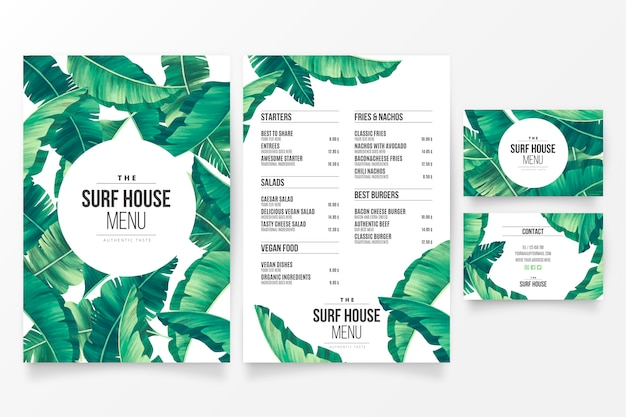 Plantilla de menú de restaurante moderno con tema floral tropical