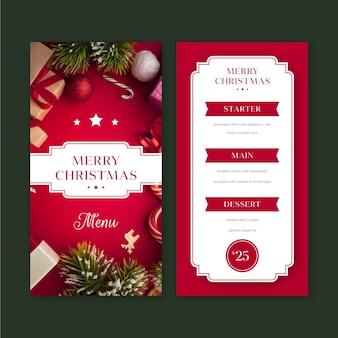 Plantilla de menú de restaurante navideño con foto