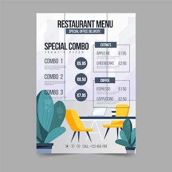 Plantilla de menú de restaurante de negocios