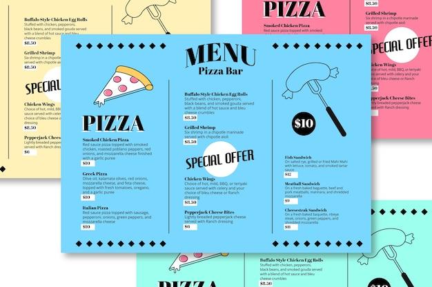 Plantilla de menú de restaurante de pizza bar