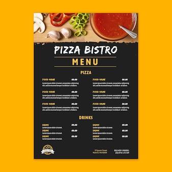 Plantilla de menú de restaurante de pizza