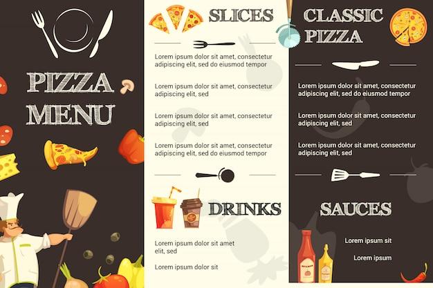 Plantilla de menú para restaurante y pizzería.