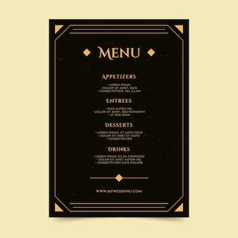 Plantilla de menú de restaurante plano