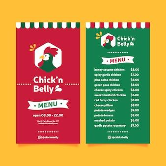 Plantilla de menú de restaurante con pollo