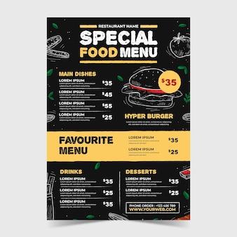 Plantilla de menú de restaurante restaurante