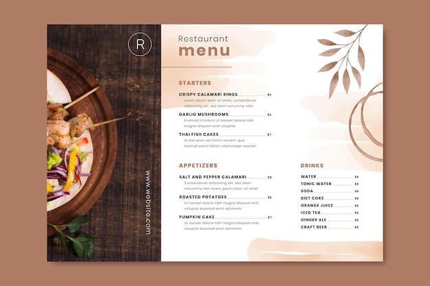 Plantilla de menú de restaurante rústico acuarela pintada a mano