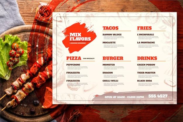 Plantilla de menú de restaurante rústico dibujado a mano grabado con foto Vector Premium