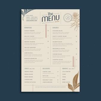 Plantilla de menú de restaurante rústico dibujado a mano grabado
