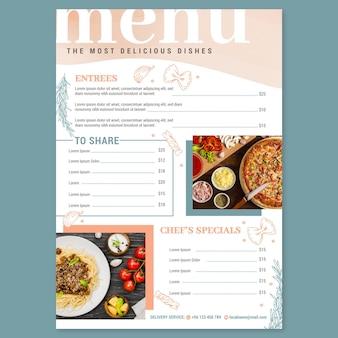 Plantilla de menú de restaurante rústico plano orgánico con foto