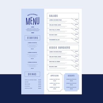 Plantilla de menú de restaurante rústico plano orgánico