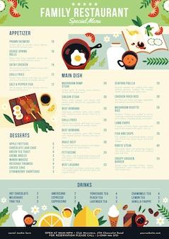 Plantilla de menú de restaurante rústico plano orgánico vector gratuito