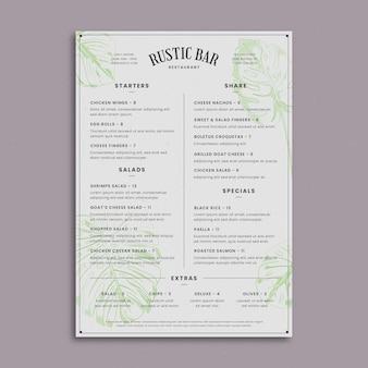Plantilla de menú de restaurante rústico