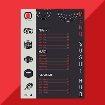 Plantilla de menú de restaurante sushi hub