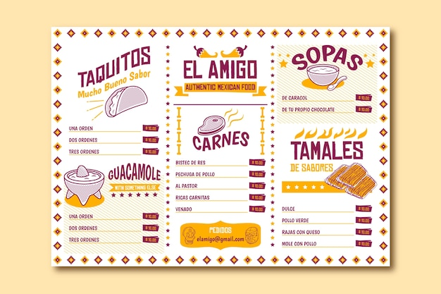 Plantilla de menú de restaurante para taquitos