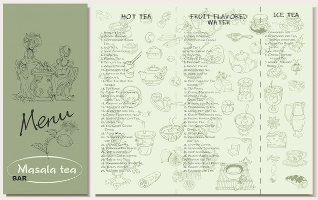 Plantilla de menú de restaurante de té