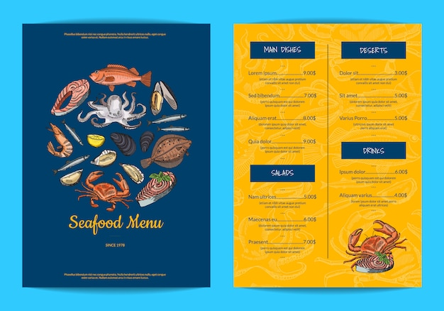 Plantilla de menú para restaurante, tienda o cafetería con elementos de mariscos dibujados a mano