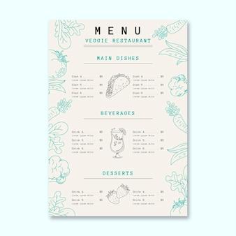 Plantilla de menú de restaurante vegetariano