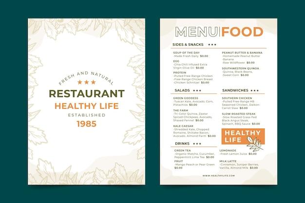 Plantilla de menú de restaurante vintage