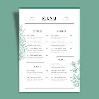 Plantilla de menú de restaurante