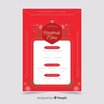 Plantilla de menú rojo navidad plana