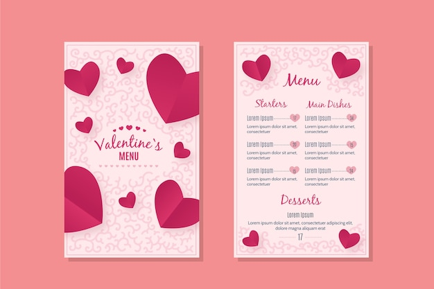 Plantilla de menú romántico del día de san valentín