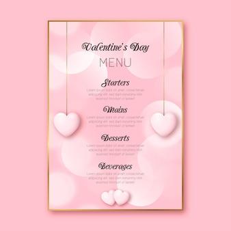 Plantilla de menú rosa realista de san valentín