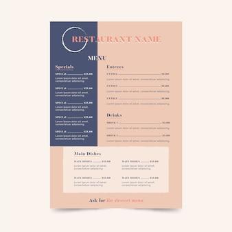 Plantilla de menú rosa restaurante de comida sana colorida
