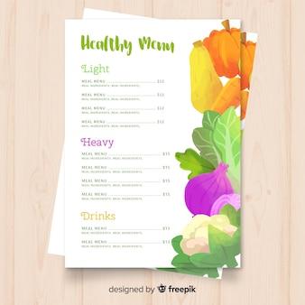 Plantilla de menu saludable en acuarela