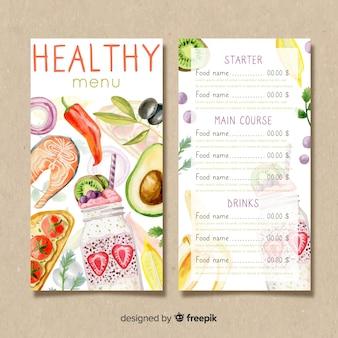 Plantilla de menú saludable en acuarela