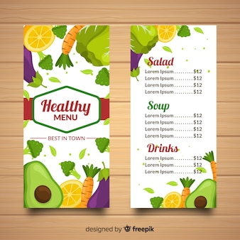 Plantilla de menu saludable dibujado a mano