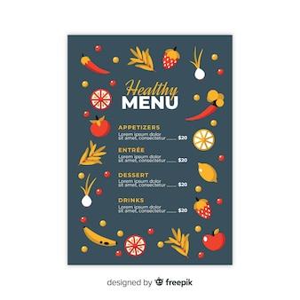 Plantilla de menú saludable en diseño plano