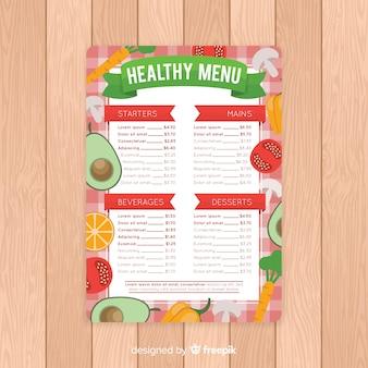 Plantilla de menu saludable en diseño plano