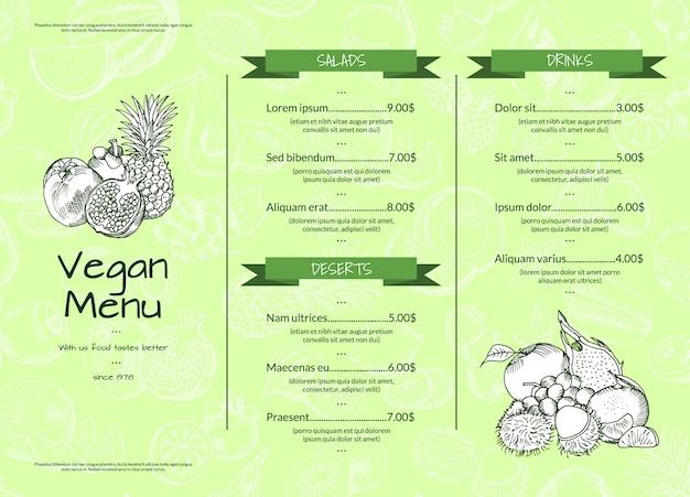 Plantilla de menú saludable vegano de frutas y verduras