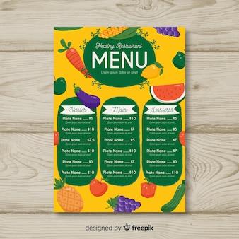 Plantilla de menú saludable